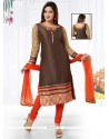 Fetching Brown Embroidered Work Chanderi Readymade Suit
