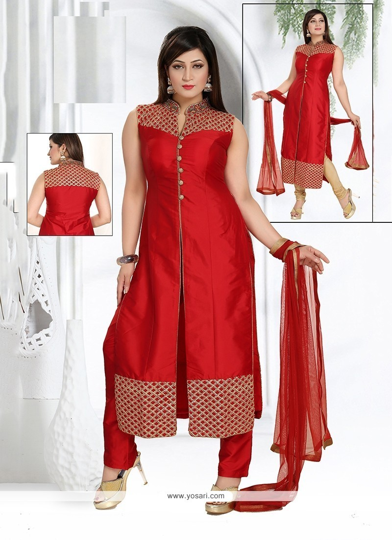 Dignified Fancy Fabric Red Readymade Suit