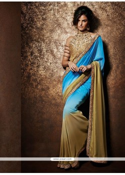 Beige And Blue Chiffon Satin Saree