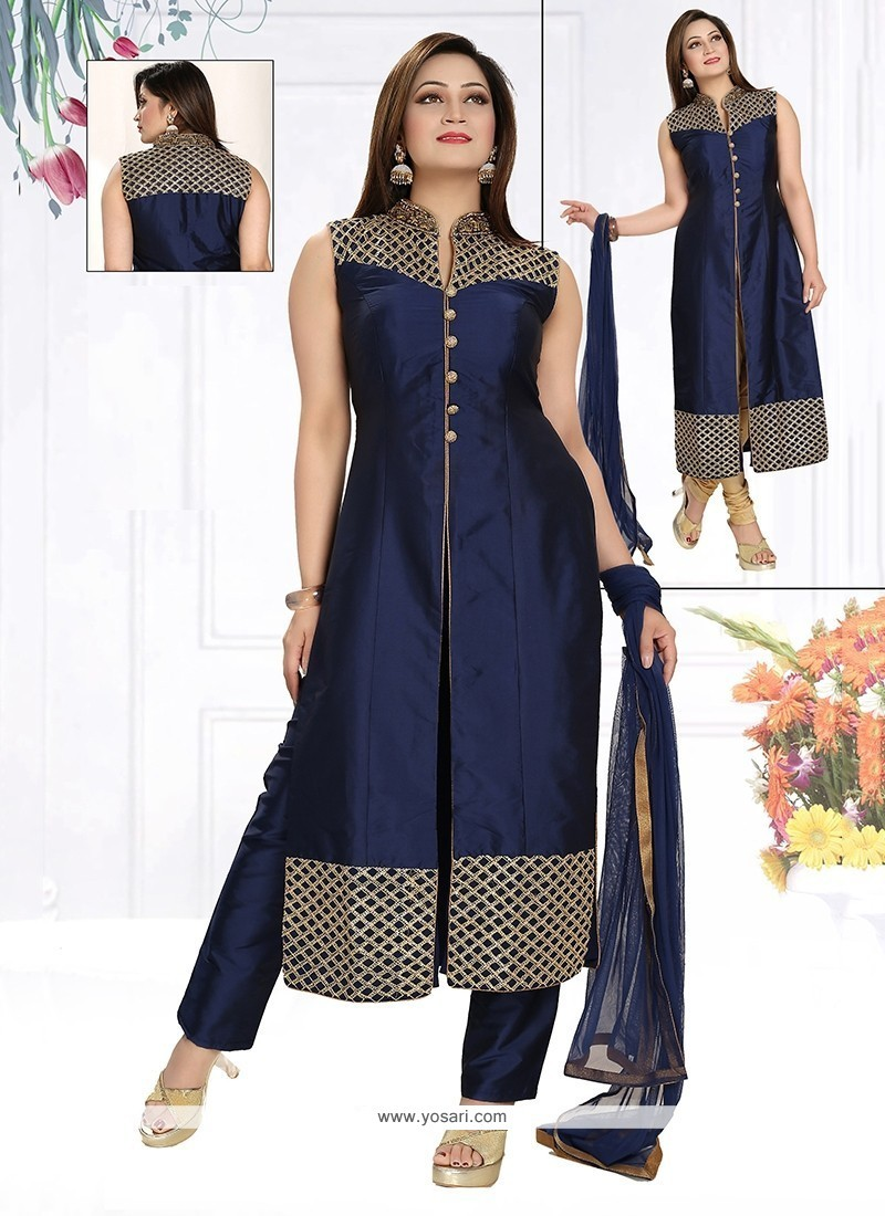 Lovable Fancy Fabric Embroidered Work Readymade Suit