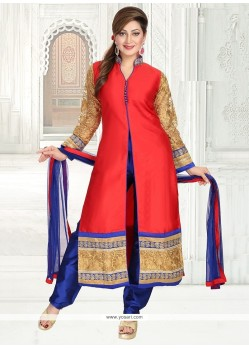 Nice Fancy Fabric Red Embroidered Work Readymade Suit