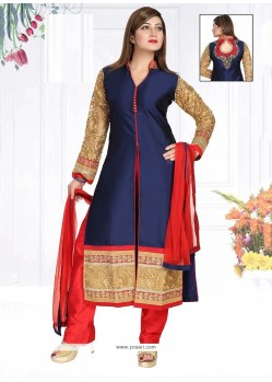 Refreshing Navy Blue Patch Border Work Fancy Fabric Readymade Suit
