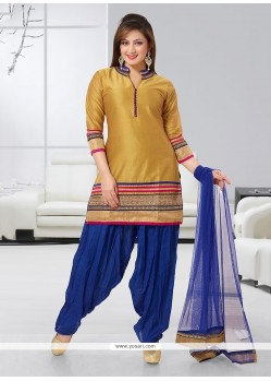 Congenial Gold Embroidered Work Readymade Suit