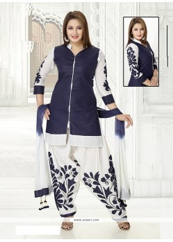 Invaluable Embroidered Work Cotton Navy Blue Readymade Suit