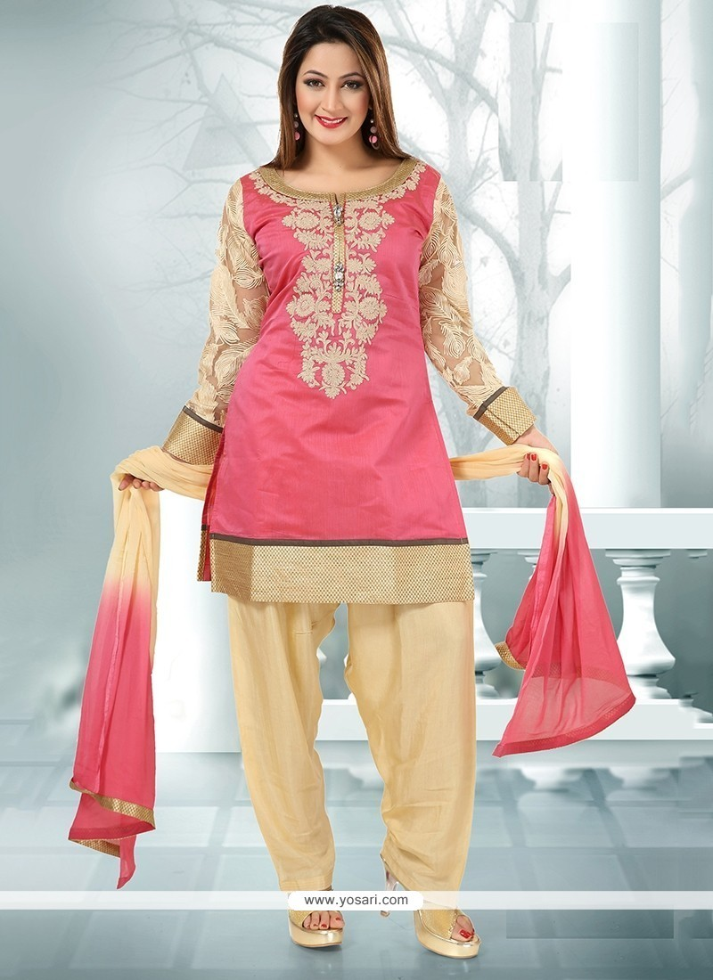 Artistic Embroidered Work Chanderi Pink Readymade Suit
