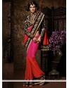 Fab Red And Magenta Chiffon Satin Saree
