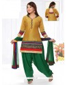 Elite Embroidered Work Gold Chanderi Readymade Suit