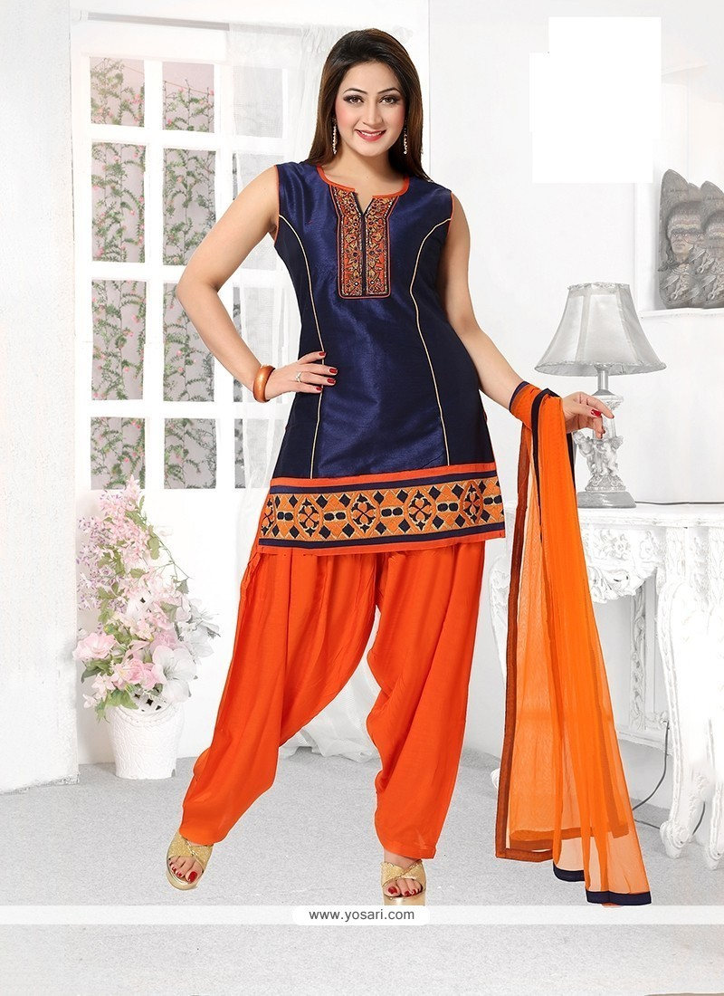 Pretty Embroidered Work Art Dupion Silk Readymade Suit