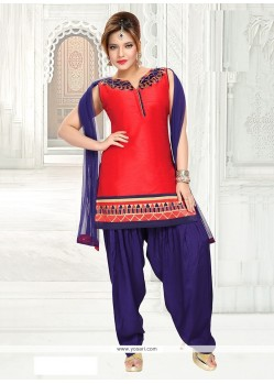 Eye-catchy Embroidered Work Art Dupion Silk Readymade Suit
