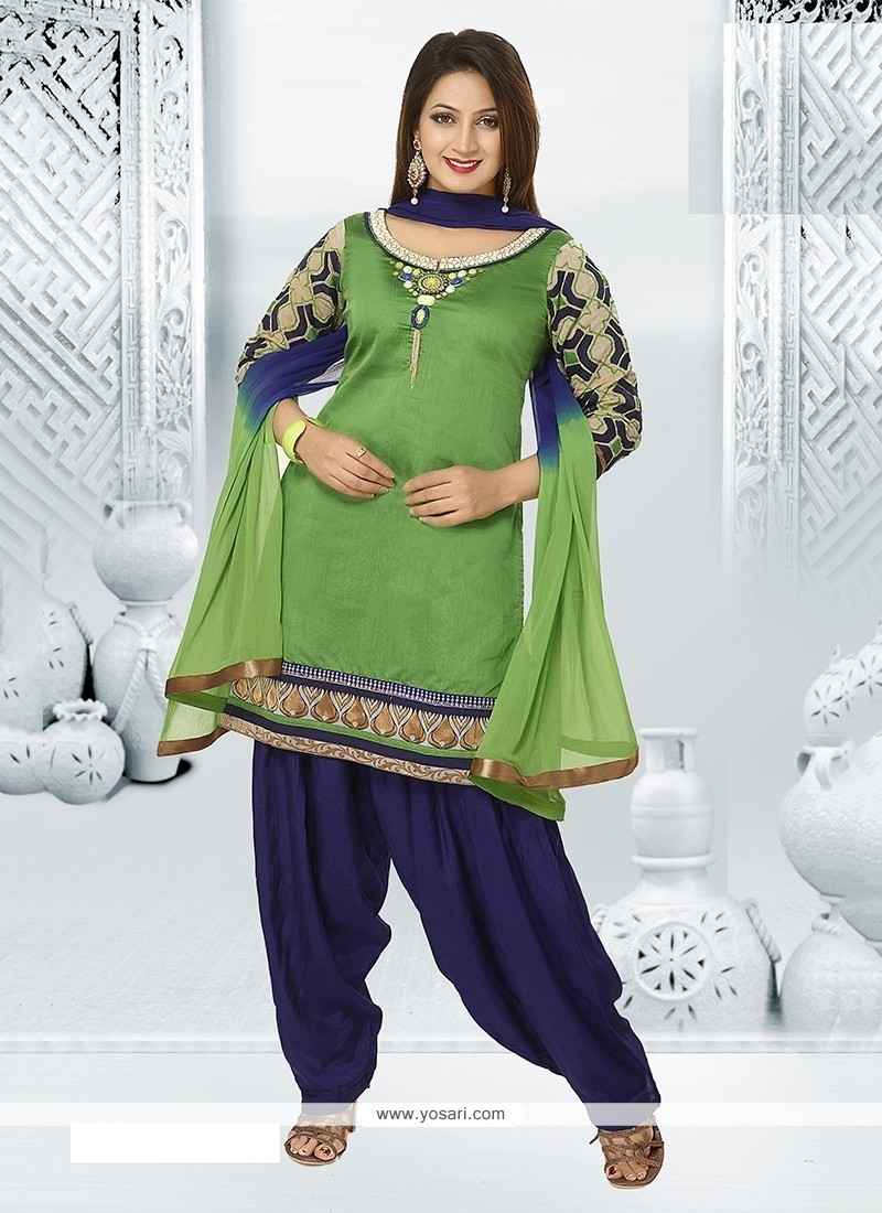 Sightly Green Chanderi Readymade Suit