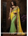 Sea Green And Yellow Georgette Saree
