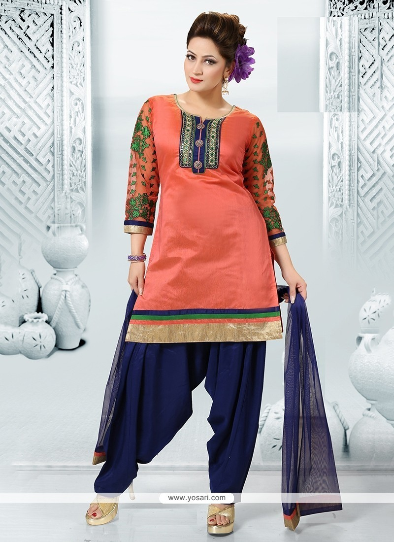 Congenial Embroidered Work Chanderi Readymade Suit
