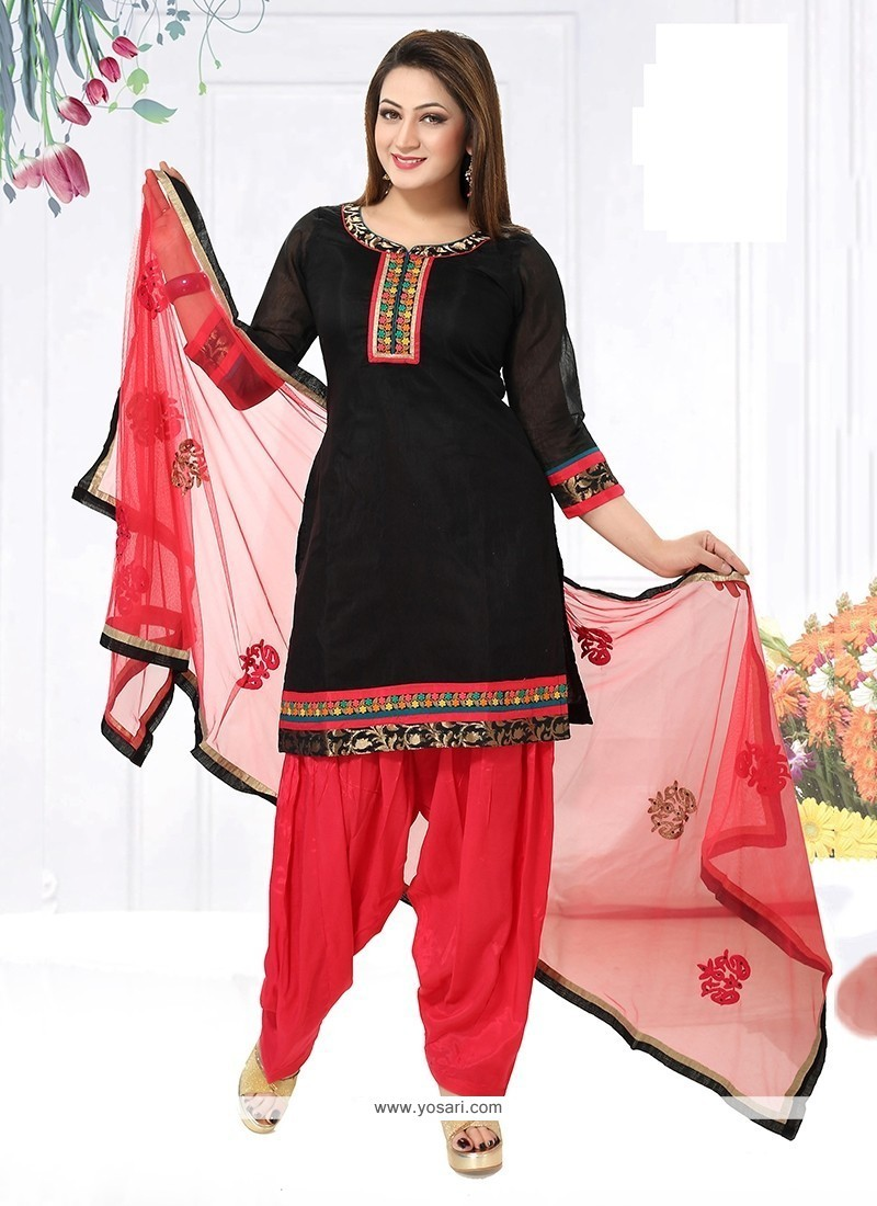 Fascinating Chanderi Embroidered Work Readymade Suit