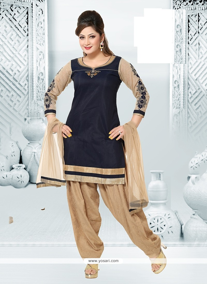 Transcendent Navy Blue Embroidered Work Chanderi Readymade Suit