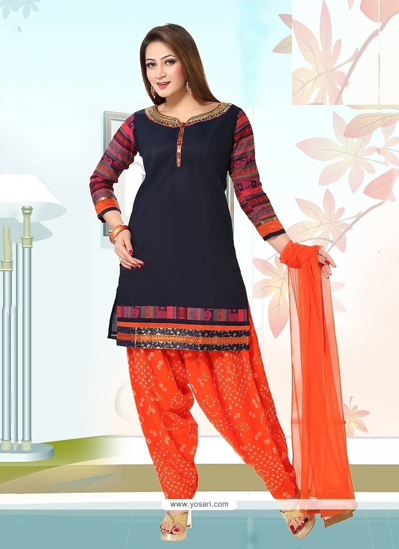 Blissful Chanderi Navy Blue Readymade Suit