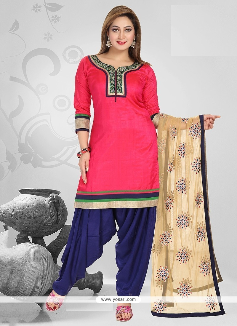 Engrossing Pink Embroidered Work Readymade Suit