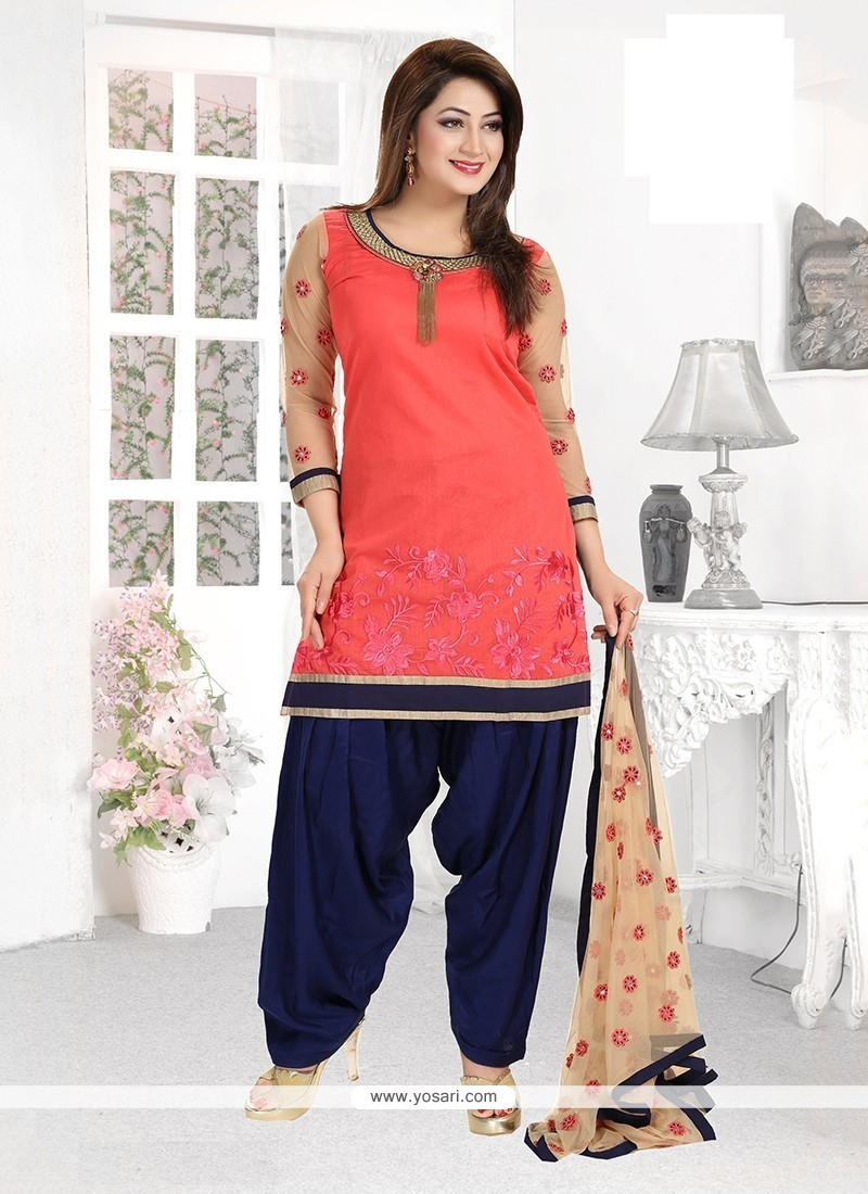 Flattering Embroidered Work Chanderi Readymade Suit