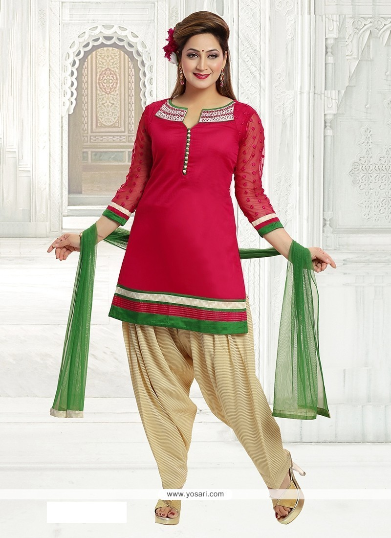 Staring Embroidered Work Hot Pink Chanderi Readymade Suit
