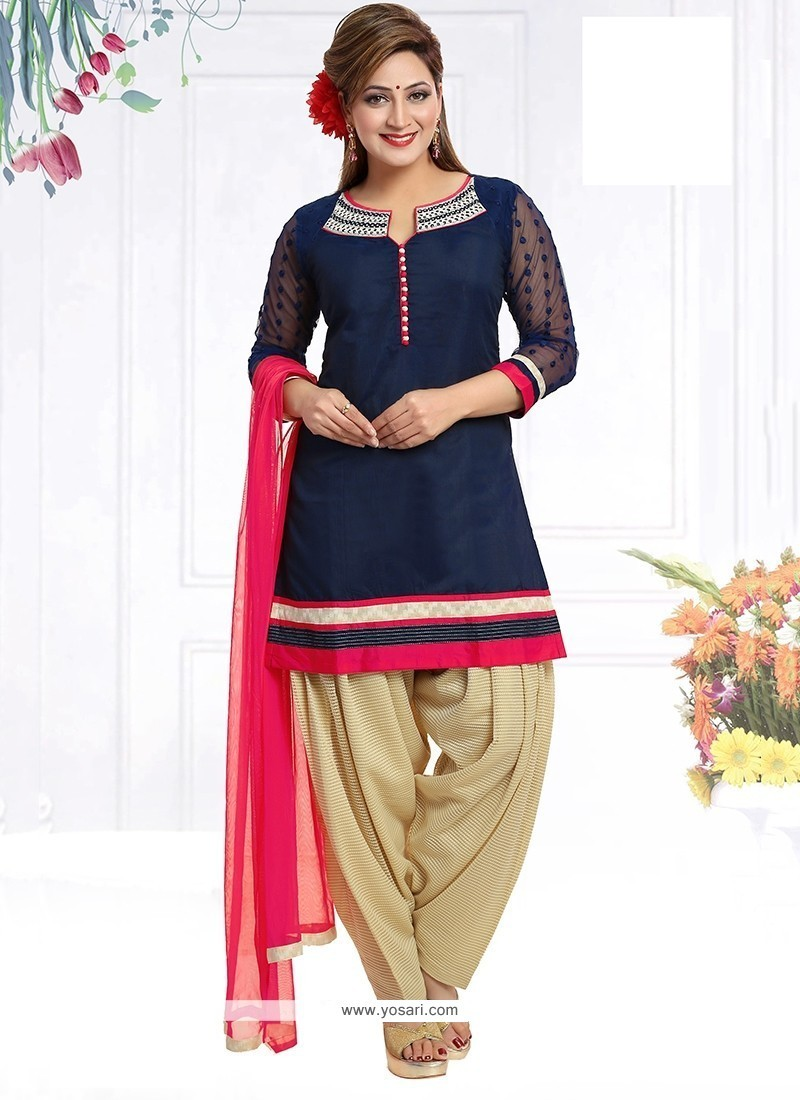Preferable Embroidered Work Chanderi Navy Blue Readymade Suit