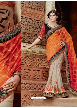 Beige And Orange Premium Net Designer Saree