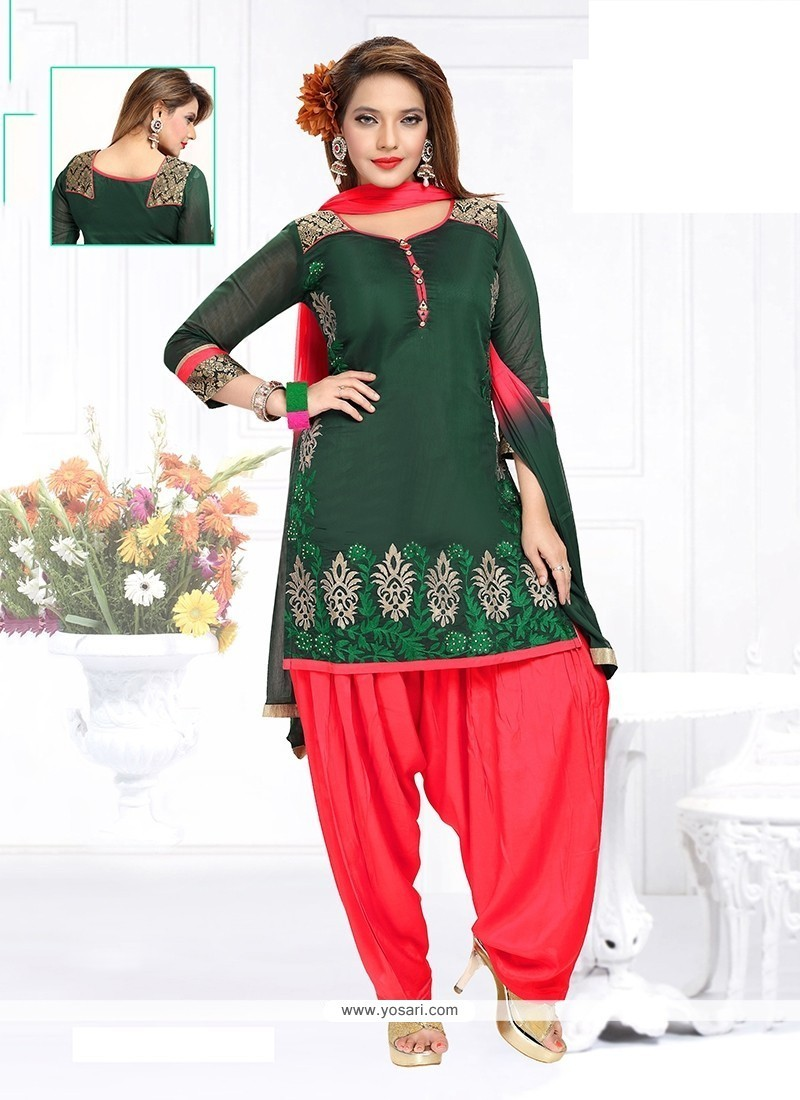 Angelic Chanderi Green Embroidered Work Readymade Suit