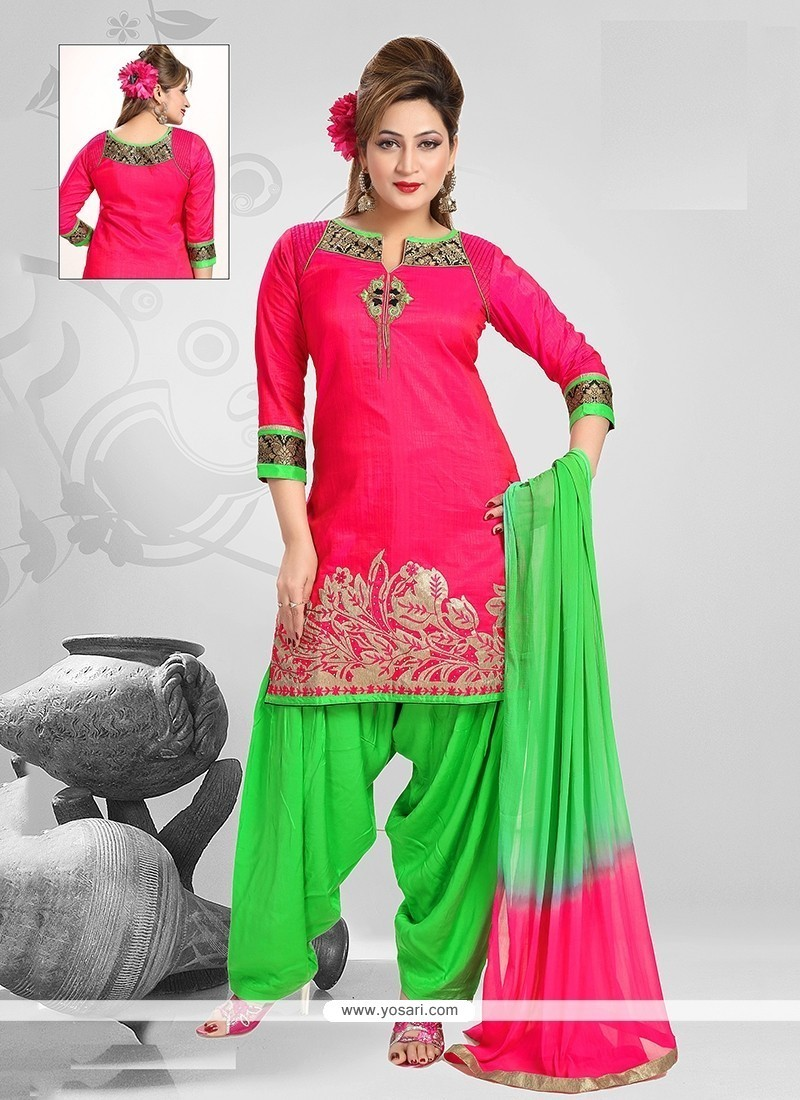 Graceful Chanderi Hot Pink Embroidered Work Readymade Suit