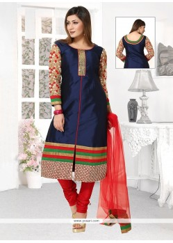 Embroidered Fancy Fabric Readymade Suit In Navy Blue