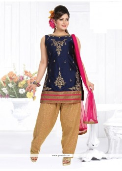 Glamorous Lace Work Navy Blue Fancy Fabric Readymade Suit