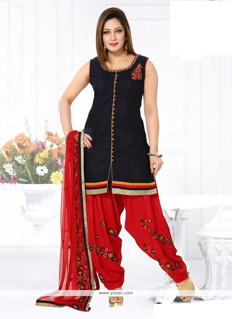 Dashing Chanderi Embroidered Work Readymade Suit