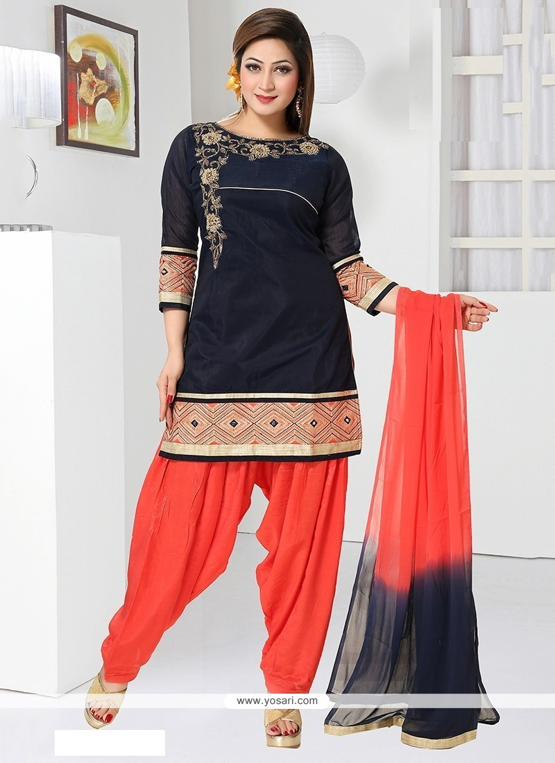 Baronial Chanderi Navy Blue Embroidered Work Readymade Suit