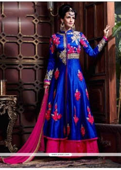 Striking Georgette Blue Patch Border Work Anarkali Salwar Kameez