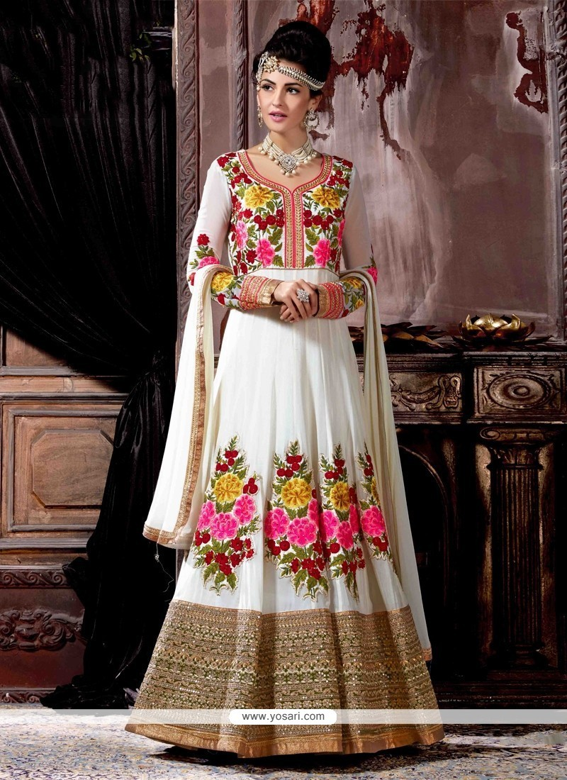 Majesty Off White Anarkali Salwar Kameez