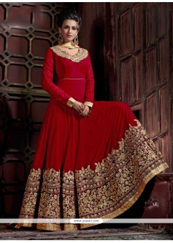 Wonderous Georgette Red Anarkali Salwar Kameez