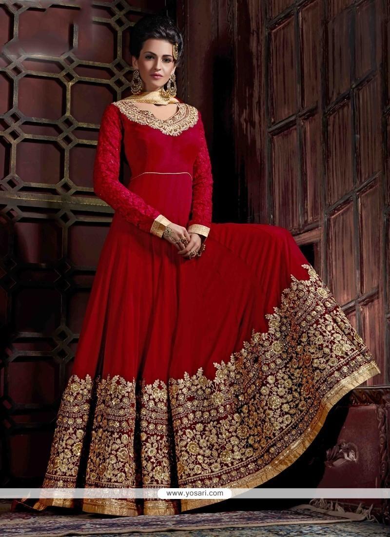 Wonderous Georgette Red Anarkali Salwar Kameez