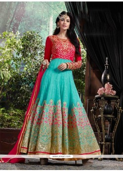Customary Turquoise Patch Border Work Anarkali Salwar Kameez