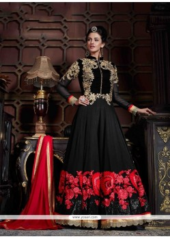 Sorcerous Black Embroidered Work Georgette Anarkali Salwar Kameez