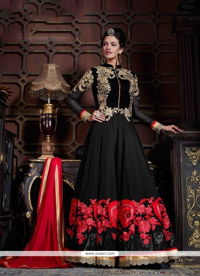 Sorcerous Black Embroidered Work Georgette Anarkali Salwar Kameez