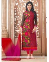 Extraordinary Cotton Embroidered Work Designer Straight Salwar Suit