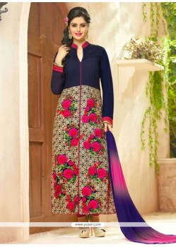 Exceeding Navy Blue Embroidered Work Cotton Designer Straight Salwar Suit