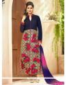 Exceeding Navy Blue Embroidered Work Cotton Designer Straight Salwar Suit