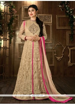 Glorious Mirror Work Beige Net Designer Floor Length Salwar Suit
