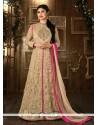 Glorious Mirror Work Beige Net Designer Floor Length Salwar Suit