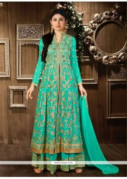Hypnotizing Faux Georgette Green Designer Palazzo Salwar Suit