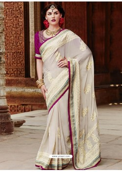 Cream And Magenta Pure Crape Designer Saree