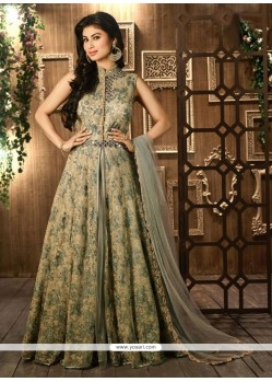 Delightful Net Beige Mirror Work Designer Floor Length Salwar Suit