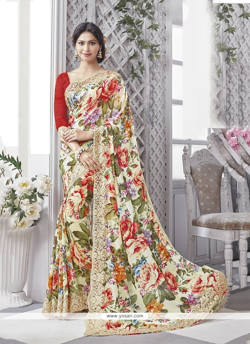 Aesthetic Georgette Multi Colour Printed Saree