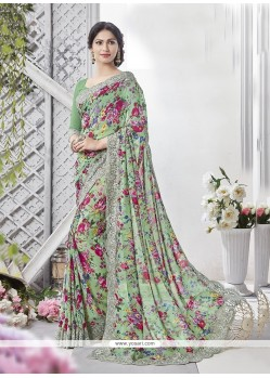 Multi Colour Print Work Georgette Printed Saree
