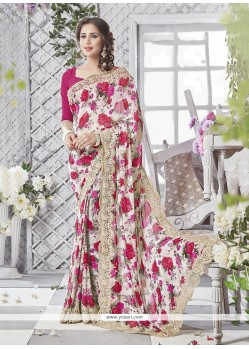 Distinctively Georgette Print Work Printed Saree