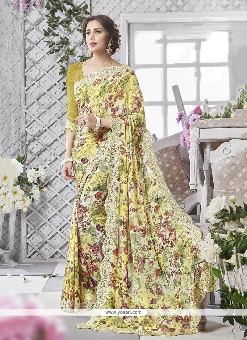 Girlish Multi Colour Print Work Printed Saree