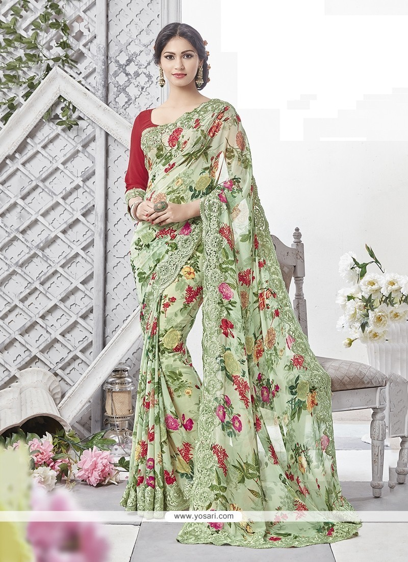 Gripping Georgette Multi Colour Printed Saree